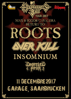 max igor cavalera return to roots overkill over kill insomnium deserted fear saarbrucken garage